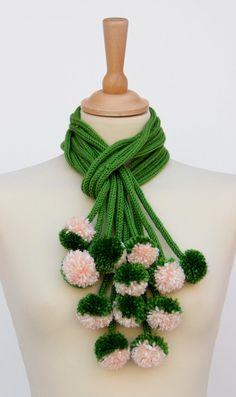 Valentinaday's SALE Knitted  scarf pom pom by Ainurcrochet on Etsy, $40.00