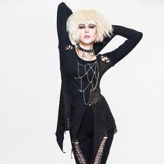 2017 Steampunk T Shirt Women Gothic Asymmetric Flare Sleeve Sexy Tops T-shirt