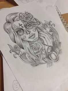 Day of the dead design I did for a thigh piece