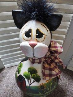 Handpainted Primitive Folk Art Cat Doll Gourd
