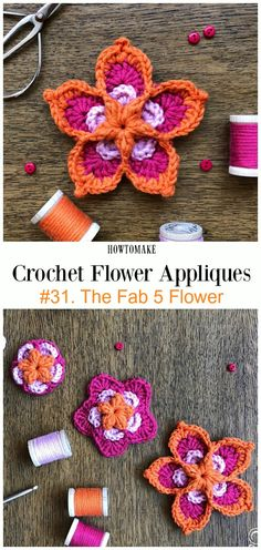 The Fab 5 Flower Free Crochet Pattern -Easy #Crochet #Flower Appliques Free Patterns