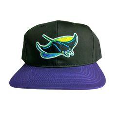 19930df6d5e VINTAGE TAMPA BAY DEVIL RAYS Retro Old School Snapback Hat - MLB Cap - 2  Tone Black Purple