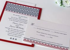 Damask Red and Black Wedding Invitations by DesignsByDirection, $2.95