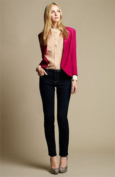Dark-rinse skinny jeans that hugs your curves or lack of them in my case. $74.50