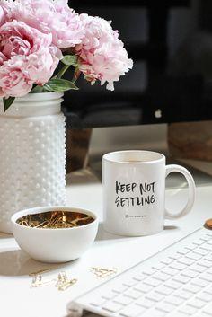 Keep Not Settling Mug $15 // shop.theeverygirl.com