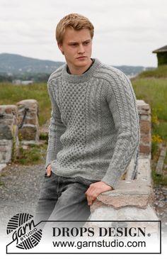 """Suéter de punto DROPS para hombre, con torsadas / trenzas en """"Karisma"""". Talla 13/14 años – XXXL. Diseño DROPS: Patrón No. U-593 ~ DROPS Design"""