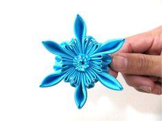 Moños en cintas para el cabello diseño flor estrella azul