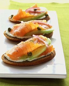 Rye Toasts with Smoked Salmon, Cucumber, and Red Onion Recipe