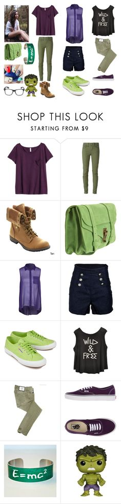 """""""Bethany Banner, daughter of the Hulk"""" by frootloop16 ❤ liked on Polyvore featuring H&M, Diesel, Nature Breeze, Proenza Schouler, mbyM, Superga, Just Cavalli, Vans, MC2 and Funko"""