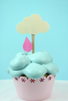 Little Rain Cloud Cupcake Toppers - Set of 12 - Baby shower, Bridal Shower. $7.00, via Etsy.