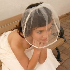 Tulle Blusher Wedding Veil with Rosebud Lace by UrbanVeilsCouture, $25.00
