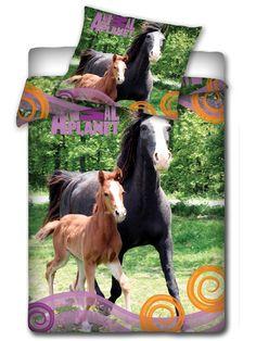Parure de lit housse de couette cheval blanc 100 coton for Taille housse de couette pour lit 160