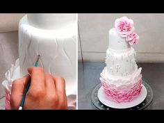 Cake with Pearls & Flowers *Decorar con Fondant by Cakes StepbyStep - YouTube