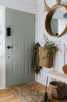 Our Sage Front Door and Painting Tips. Learn my simple tips to get a professional finish. Many are making simple mistakes that they aren't aware of! Interior Door Colors, Painted Interior Doors, Painted Front Doors, Interior Door Styles, Front Door Entryway, Front Door Decor, Green Front Doors, Best Front Door Colors, Fall Front Doors