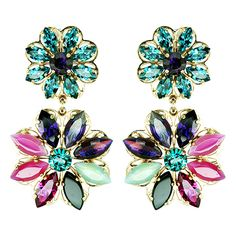 REMINISCENCE | Clips Earrings In Gold Metal, Embellished With An Embroidered Flower, And Crystals.