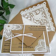 Custom Wedding Invitation & RSVP, Kraft Vintage Rustic White Doily Lace, Embossed, Elegant, Shabby Chic, 5 Piece Sample - Any Color on Etsy, $5.50