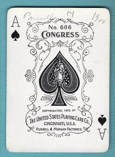 1 Single Swap Playing Card ANTIQUE WIDE ACE OF SPADES 606 CONGRESS 1900 VINTAGE