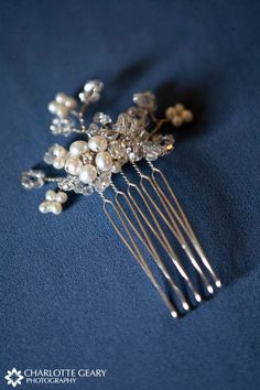 Silver pearl hair comb