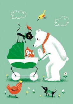 #Card Hello Baby wenskaart Aurelie Guillerey 12x17 from www.kidsdinge.com    www.facebook.com/pages/kidsdingecom-Origineel-speelgoed-hebbedingen-voor-hippe-kids/160122710686387?sk=wall         http://instagram.com/kidsdinge #Kidsdinge #Toys #Speelgoed