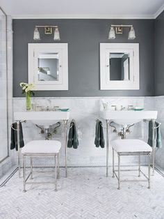 Charcoal gray and white create a modern bathroom color scheme. More ways to decorate with gray: http://www.bhg.com/decorating/color/neutrals/decorating-with-gray/