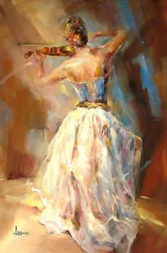 Blue Note - Anna Razumovskaya - Painting - Woman playing violin. Could be used in projections?