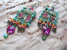 Sublime Earrings, Vintage Embroidered, Teal Blue, Pink, Green, Red, Yellow, Bohemian Gypsy