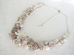 Blushing Bride Statement Necklace Vintage Floral by BrassBoheme, $120.00