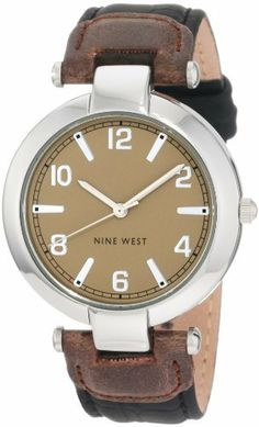 Nine West Women's NW/1225SVBK Round Silver-Tone Black and Brown Strap Watch Nine West. $49.00. Silver-tone hour hands and second hand sweep; Black croco-grain strap with a brown tab next to the lugs; Round silver-tone case; Square silver-tone stainless steel buckle closure; Round cream dial with silver-tone arabic numerals at 12-2-4-6-8-10 and stick markers at the other hour positions and a printed black outside minute track. Save 17% Off!