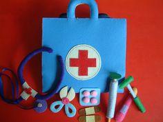 Blue Felt Medical bag, Doctor Set - i like the pills, tongue depressor and scissors