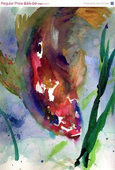 """ArtAWhirl Sale Print of Watercolor Painting """"Koi Fish"""" 12 x 16 Original Watercolor Purple Yellow Blue Orange Red Aquatic Swimming Fish"""