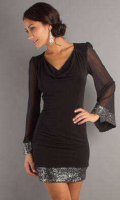 Long Sleeve Short Black Dress