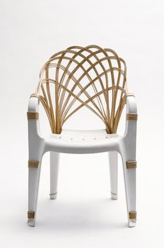 """Same Same"" by Laura Jungmann, woven chair and plastic chair merged together."