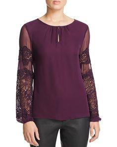 Elie Tahari Brianna Lace Sleeve Silk Blouse