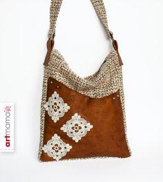 Tasche  «Ajour-4» (mit Echtleder) von artmama auf DaWanda.com