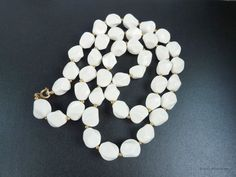White SATIN BEAD NECKLACE Vintage c Mid Century 1960/'s