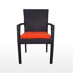 Palm Dining Set, Orange Cushions
