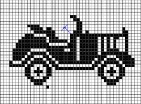 antique car chart cross-stitch or filet crochet Cross Stitch Music, Mini Cross Stitch, Cross Stitch Cards, Cross Stitching, Cross Stitch Embroidery, Crochet Car, Pixel Crochet, Thread Crochet, Knitting Charts