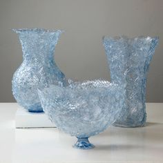 Blue bowl and vases from discarded plastic bottles