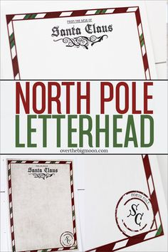 A printable North Pole Letterhead for you to print and have a Letter from Santa come to your little ones during the Holidays or in their stocking on Christmas morning! Available in two different versions. Christmas Letter From Santa, Free Letters From Santa, Santa Letter Template, Santa Letter Printable, Teacher Christmas Gifts, Kids Christmas, Christmas Morning, Christmas Stuff, Christmas Crafts