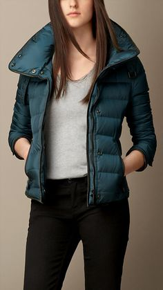 Teal blue Down Filled Leather Trim Jacket - Image 1 Best Winter Jackets, Jacket Images, Teal Blue, New Woman, Birmingham, Burberry, African, Leather Jacket, Coats
