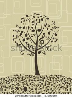 stock vector : Tree from musical notes. A vector illustration