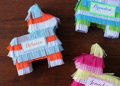 Pinata bombonniere/place cards, http://blog.evite.com/evite/2013/04/cinco-de-mayo-mini-pi%C3%B1atas.html#.UX61YMrkfUY.  ♥