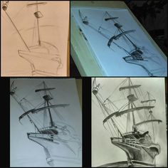 #drawing #midnightdrawing #ship #record #drawingtime #love #it #art #pencildrawing