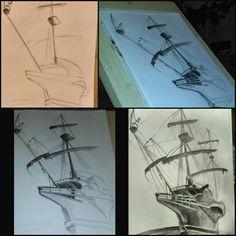#drawing #midnightdrawing #ship #record #drawingtime #love #it #art #pencildrawing