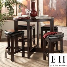 @Overstock - Capria pub set features clean lines and wedge seating for a contemporary dining experience  Dining room furniture is perfect for apartments and smaller living spaces  Bar set includes one table and four stools  http://www.overstock.com/Home-Garden/Capria-5-piece-Casual-Counter-height-Brown-Pub-Set/3552738/product.html?CID=214117 $644.71