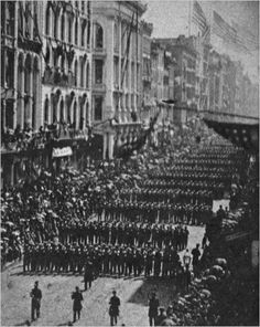 The New York 7th Regiment marching down Broadway before their active duty in the Civil War. Several hundred thousand people cheered them on. New York sent more troops per capita than any other state in the Union to the Civil War. http://wrhstol.com/2ArmMs6