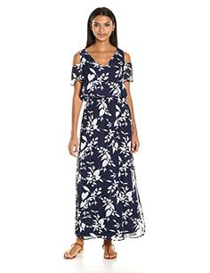 Women's Cold Shoulder Maxi with Shirring At the Waist