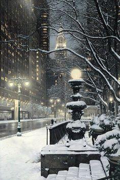 snowy night, New York