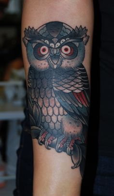 Owl tattoos can look cheesy at times, but I kinda like this one and its placement