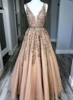 8b4aa75c6c1 Champagne Custom Made V Neck Tulle Lace Long Prom Dress